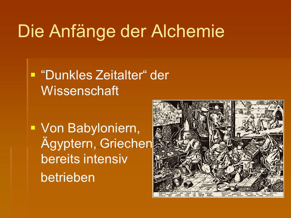 Die Anfänge der Alchemie