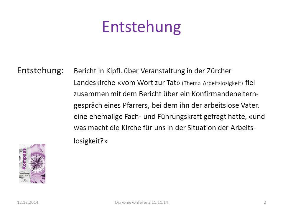 Entstehung Entstehung: Bericht in Kipfl. über Veranstaltung in der Zürcher. Landeskirche «vom Wort zur Tat» (Thema Arbeitslosigkeit) fiel.