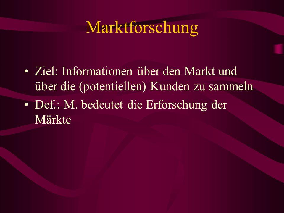 Marktforschung Ziel: Informationen über den Markt und über die (potentiellen) Kunden zu sammeln.