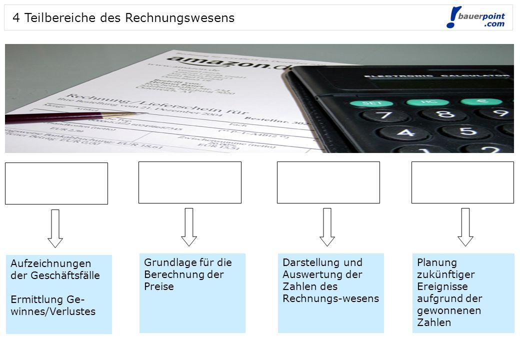 4 Teilbereiche des Rechnungswesens