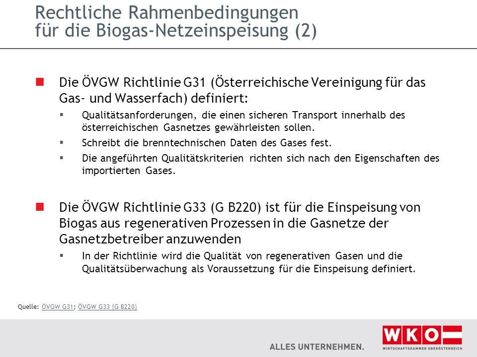 Rechtliche Rahmenbedingungen für die Biogas-Netzeinspeisung (2)