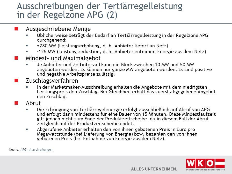 Ausschreibungen der Tertiärregelleistung in der Regelzone APG (2)