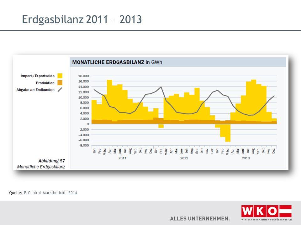 Erdgasbilanz 2011 – 2013 Quelle: E-Control Marktbericht 2014