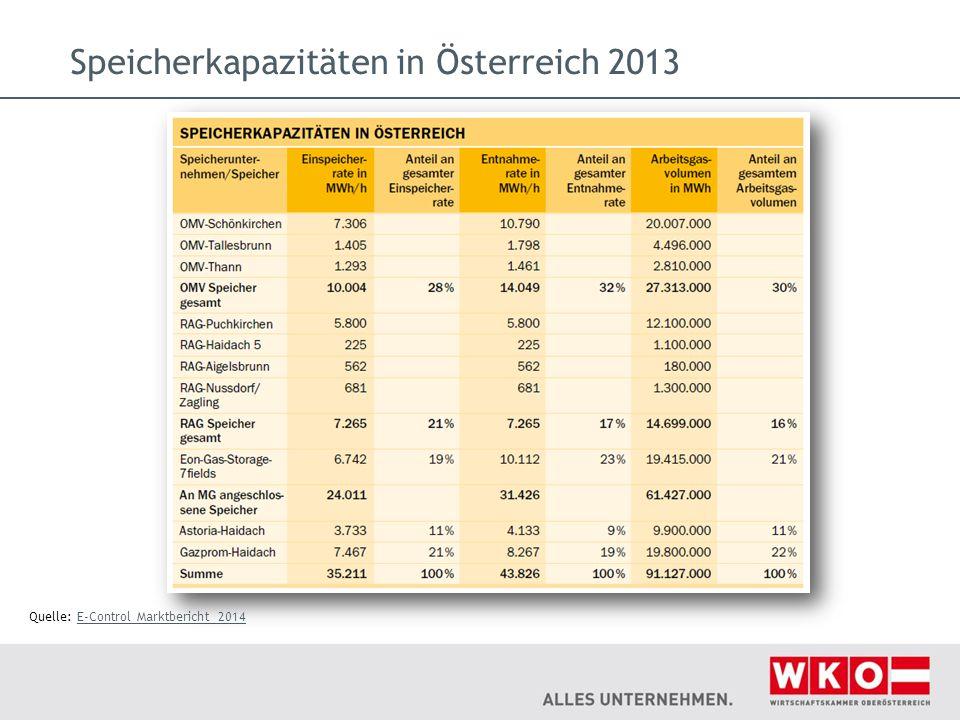 Speicherkapazitäten in Österreich 2013