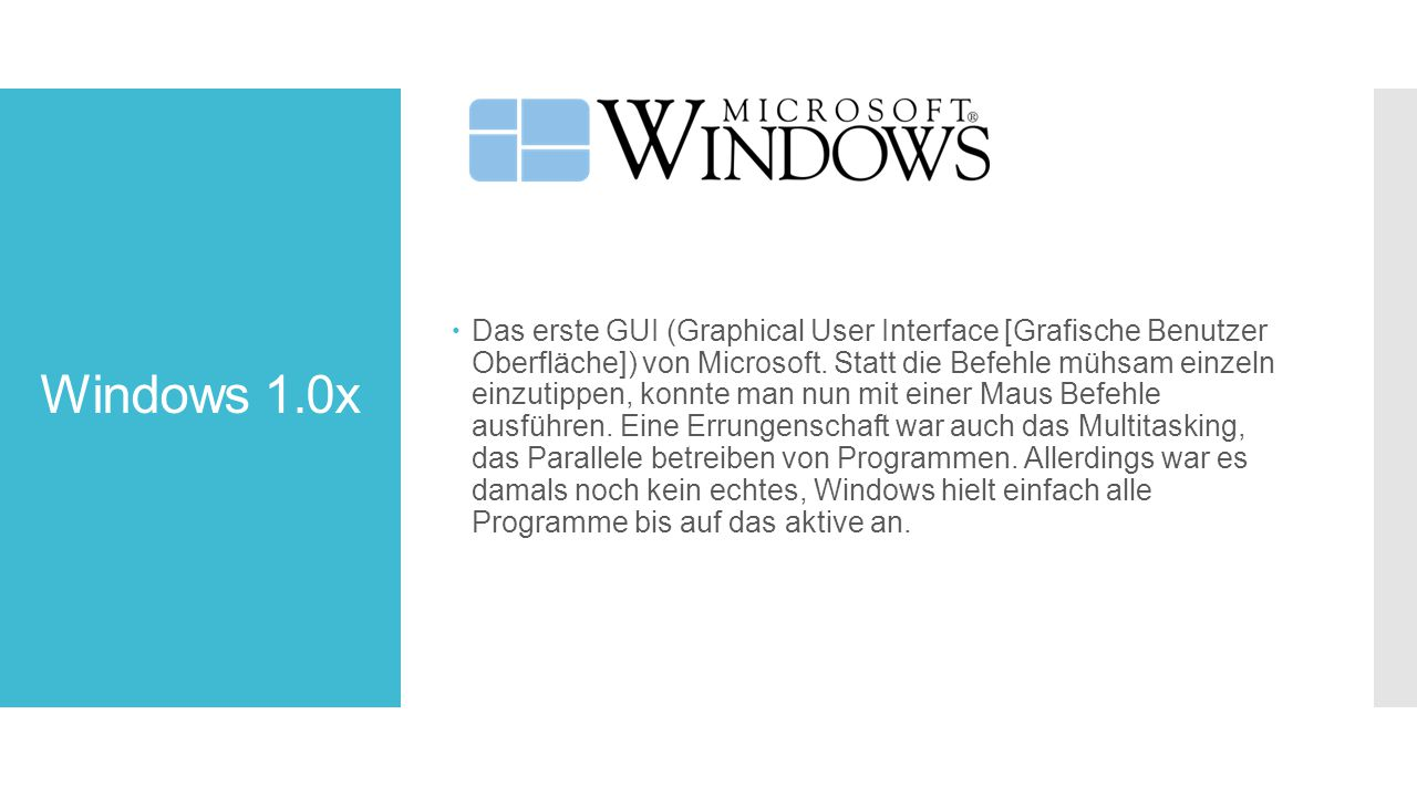 Windows 1.0x