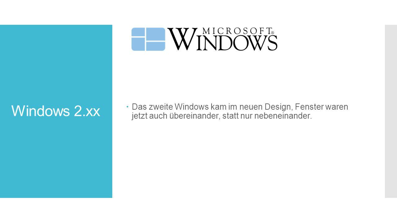 Windows 2.xx Das zweite Windows kam im neuen Design, Fenster waren jetzt auch übereinander, statt nur nebeneinander.
