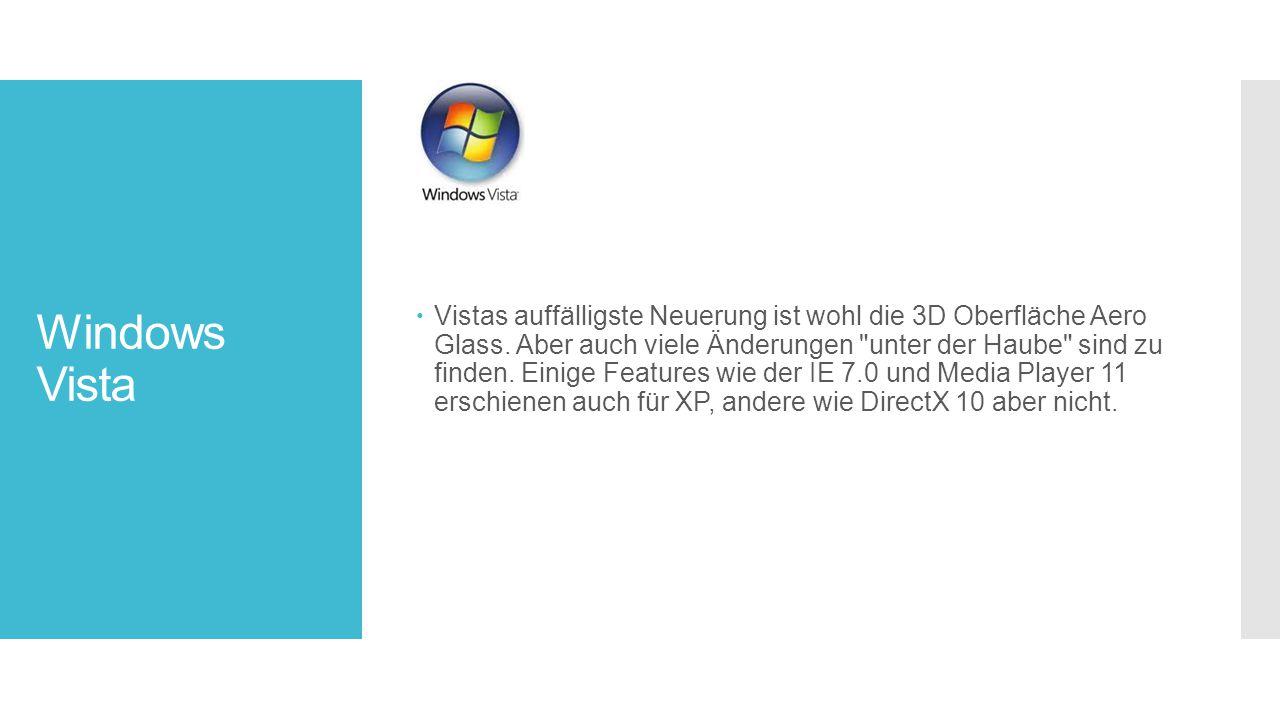 Vistas auffälligste Neuerung ist wohl die 3D Oberfläche Aero Glass