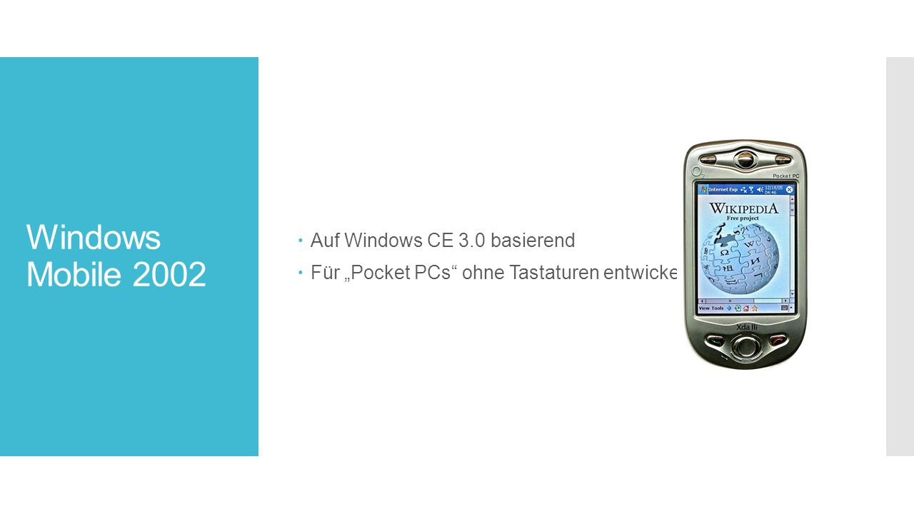 Windows Mobile 2002 Auf Windows CE 3.0 basierend