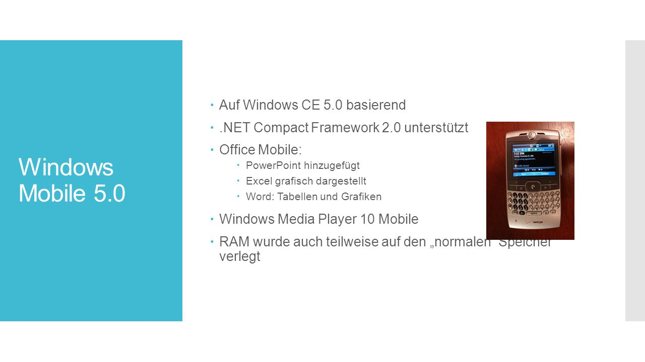 Windows Mobile 5.0 Auf Windows CE 5.0 basierend