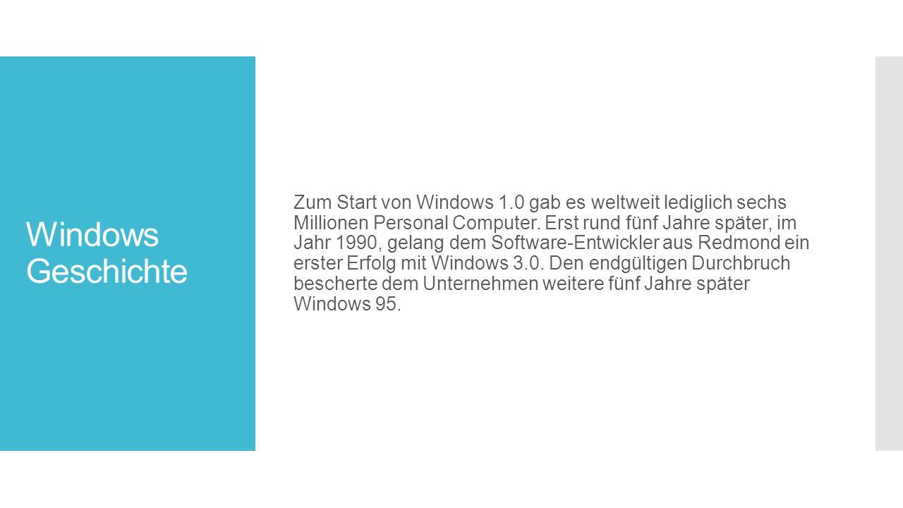 Zum Start von Windows 1.0 gab es weltweit lediglich sechs Millionen Personal Computer. Erst rund fünf Jahre später, im Jahr 1990, gelang dem Software-Entwickler aus Redmond ein erster Erfolg mit Windows 3.0. Den endgültigen Durchbruch bescherte dem Unternehmen weitere fünf Jahre später Windows 95.