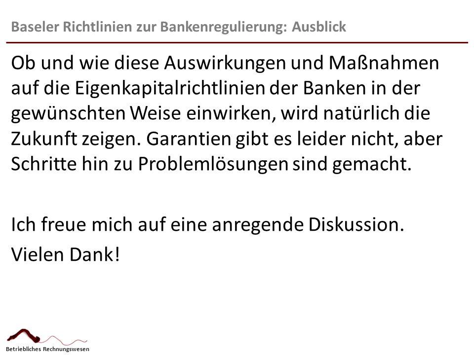 Baseler Richtlinien zur Bankenregulierung: Ausblick