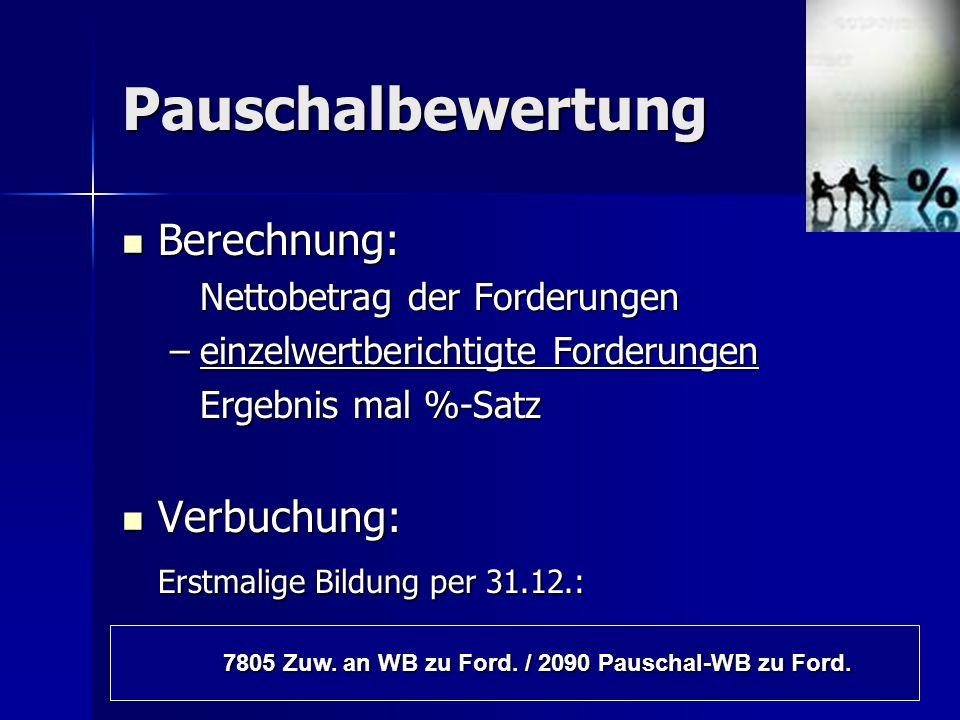 7805 Zuw. an WB zu Ford. / 2090 Pauschal-WB zu Ford.
