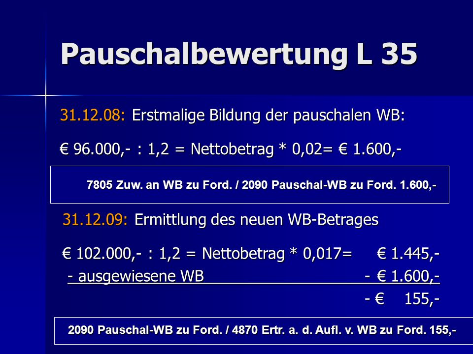 7805 Zuw. an WB zu Ford. / 2090 Pauschal-WB zu Ford. 1.600,-