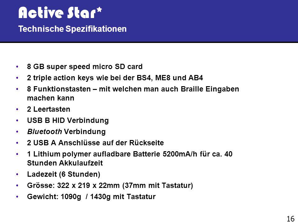 Active Star* Technische Spezifikationen 8 GB super speed micro SD card