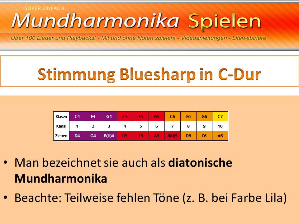 Stimmung Bluesharp in C-Dur