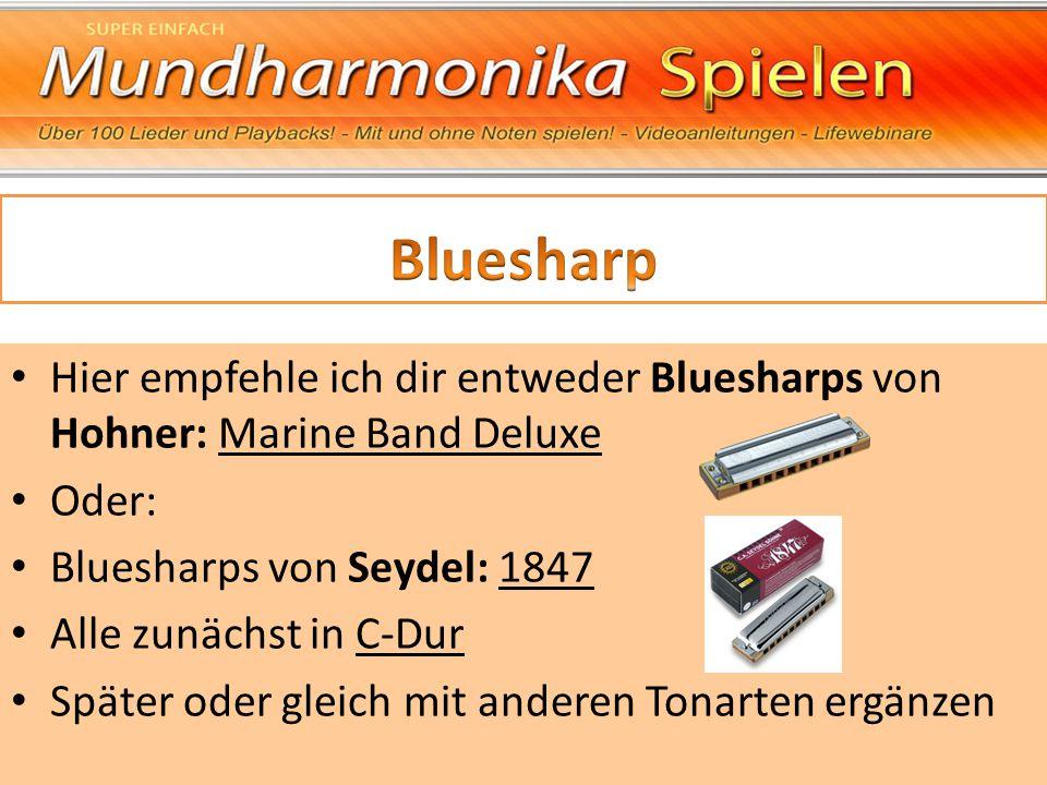 Bluesharp Hier empfehle ich dir entweder Bluesharps von Hohner: Marine Band Deluxe. Oder: Bluesharps von Seydel: 1847.