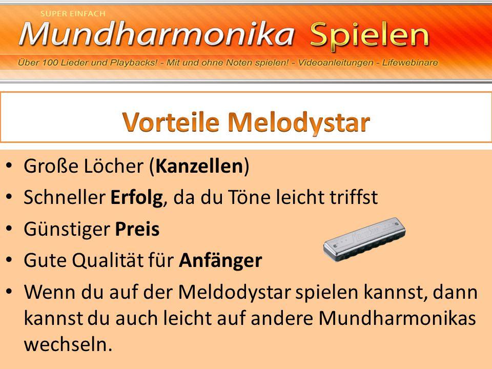 Vorteile Melodystar Große Löcher (Kanzellen)