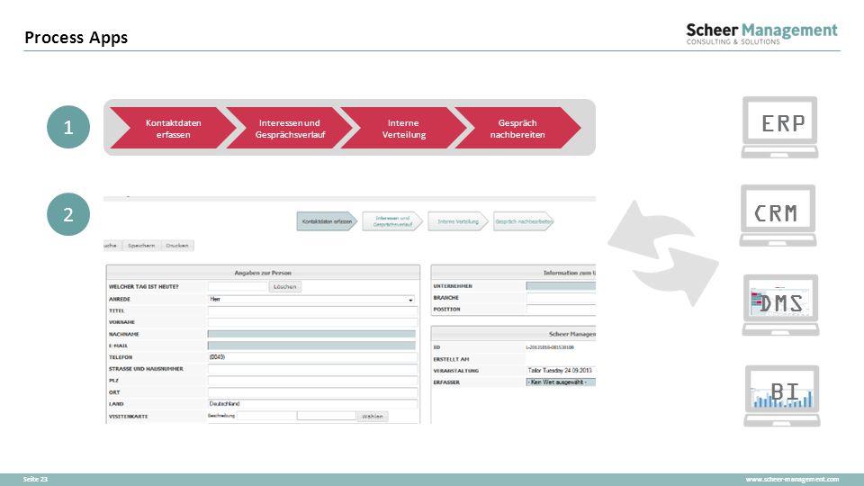 ERP CRM DMS BI 1 2 Process Apps Kontaktdaten erfassen