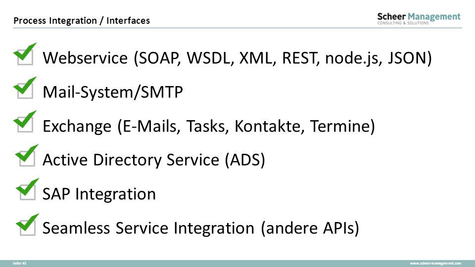 Process Integration / Interfaces