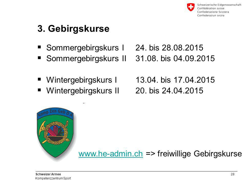 3. Gebirgskurse Sommergebirgskurs I 24. bis 28.08.2015