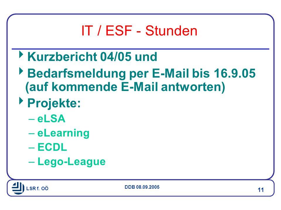 IT / ESF - Stunden Kurzbericht 04/05 und