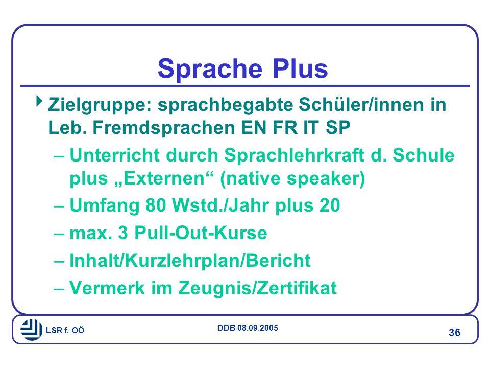 Sprache Plus Zielgruppe: sprachbegabte Schüler/innen in Leb. Fremdsprachen EN FR IT SP.