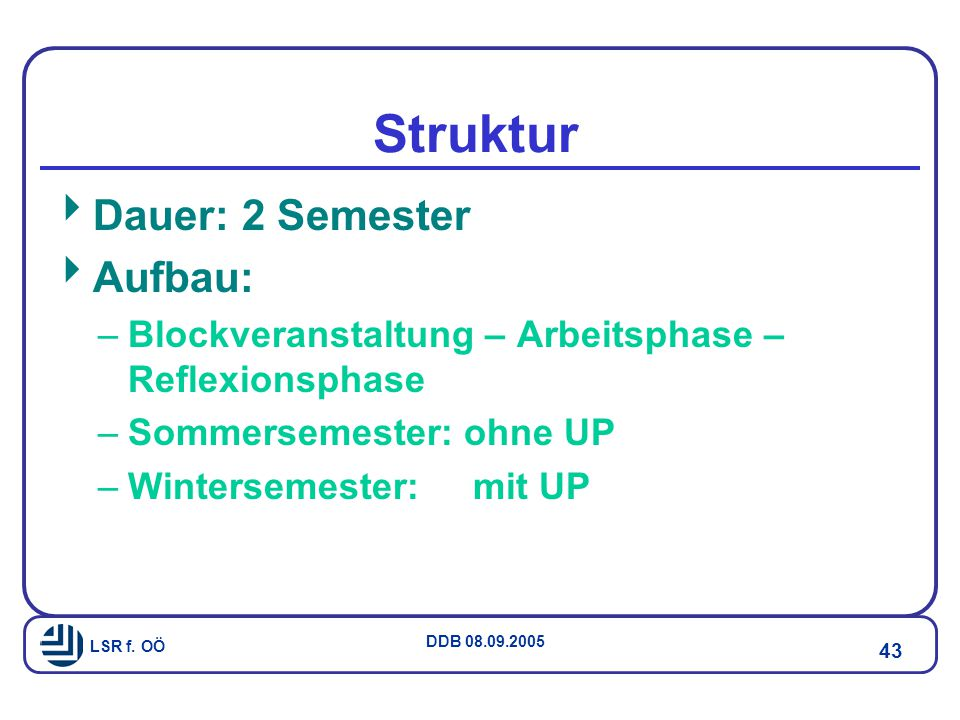 Struktur Dauer: 2 Semester Aufbau: