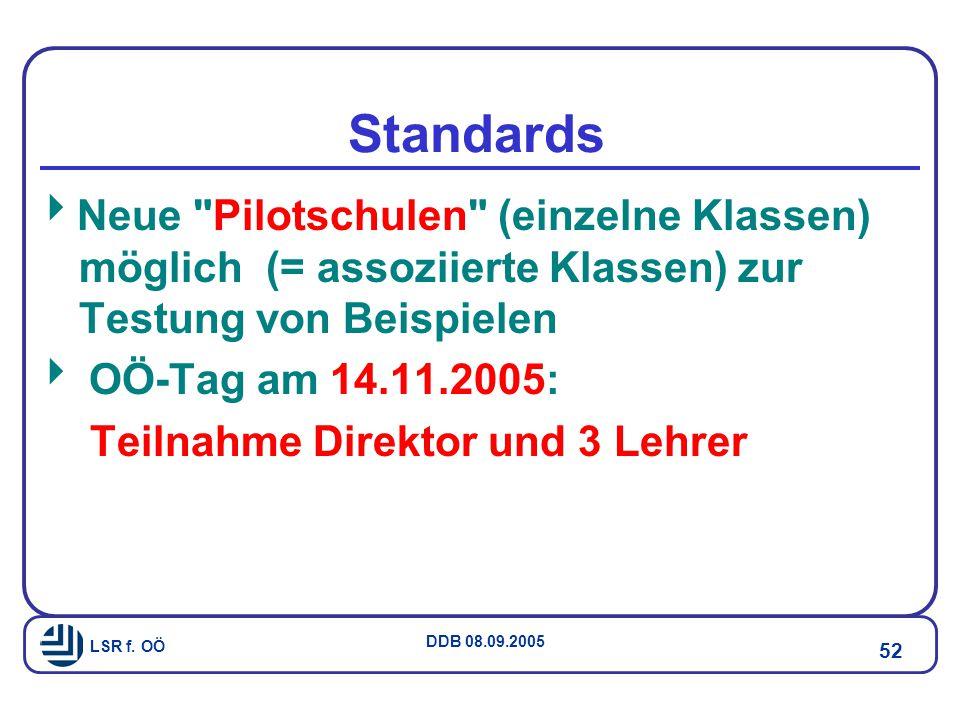 Standards Neue Pilotschulen (einzelne Klassen) möglich (= assoziierte Klassen) zur Testung von Beispielen.