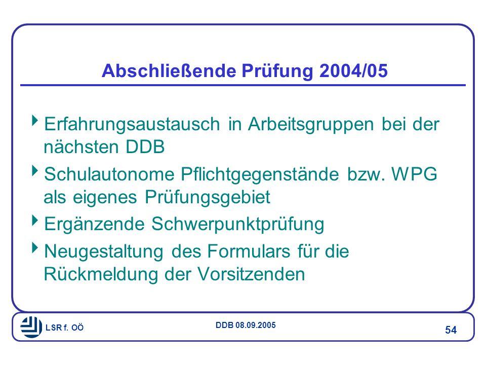 Abschließende Prüfung 2004/05