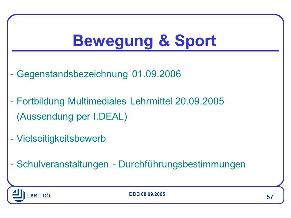 Bewegung & Sport Gegenstandsbezeichnung 01.09.2006