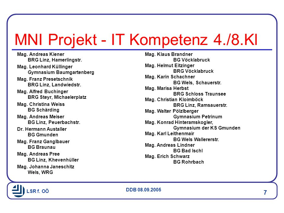MNI Projekt - IT Kompetenz 4./8.Kl
