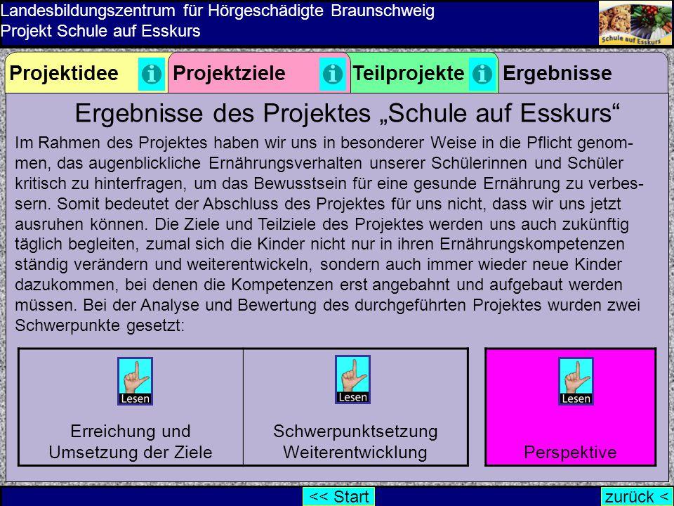 """Ergebnisse des Projektes """"Schule auf Esskurs"""