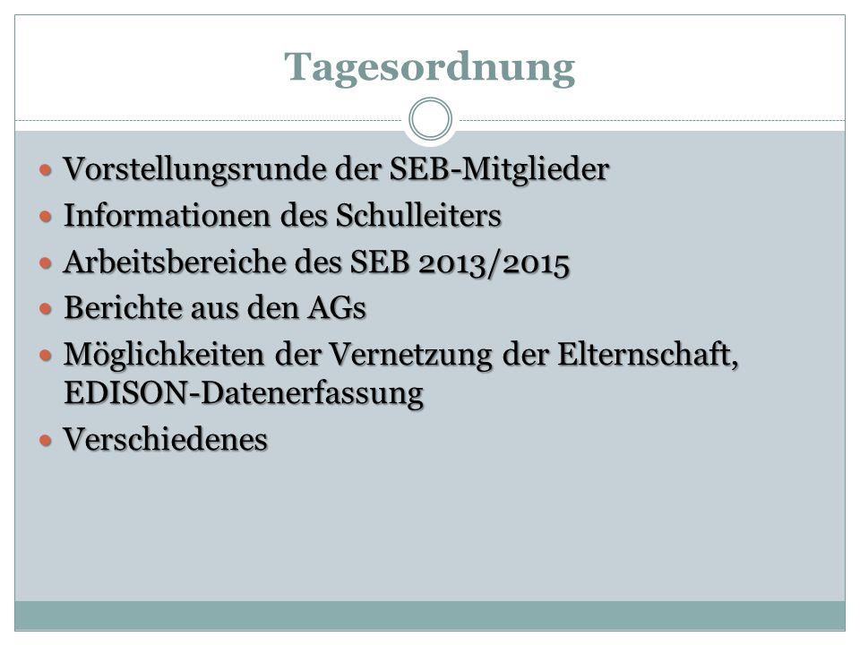 Tagesordnung Vorstellungsrunde der SEB-Mitglieder