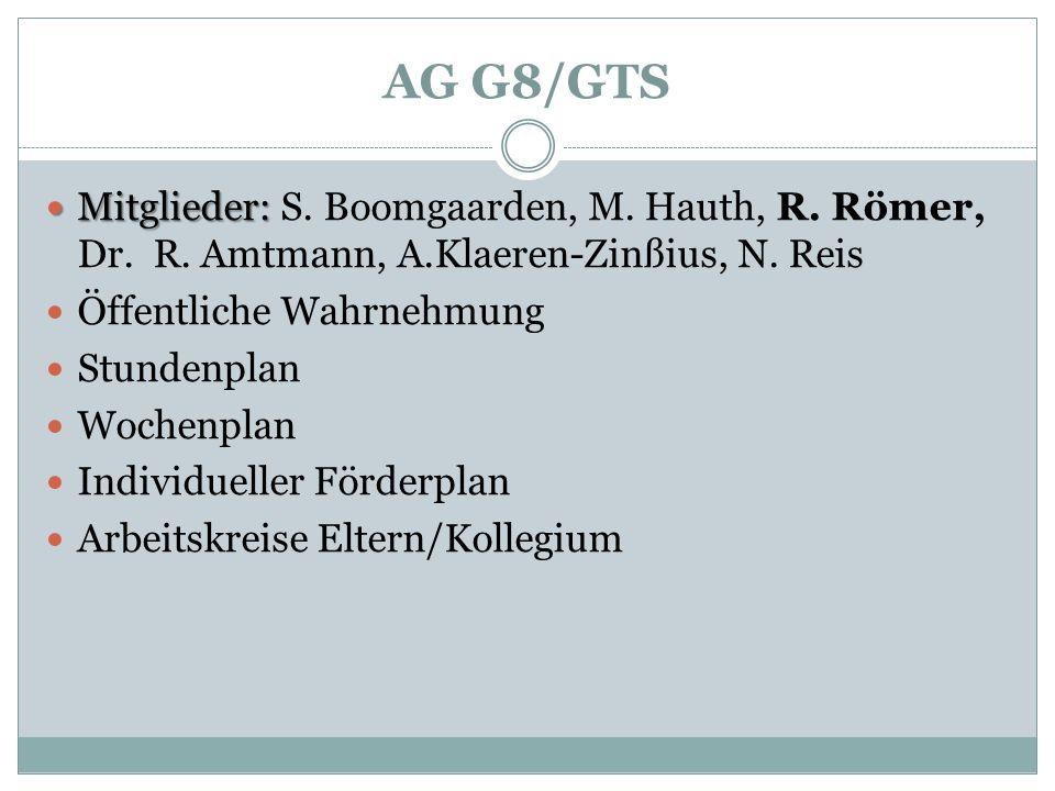 AG G8/GTS Mitglieder: S. Boomgaarden, M. Hauth, R. Römer, Dr. R. Amtmann, A.Klaeren-Zinßius, N. Reis.