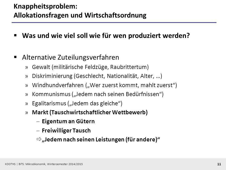 Knappheitsproblem: Allokationsfragen und Wirtschaftsordnung