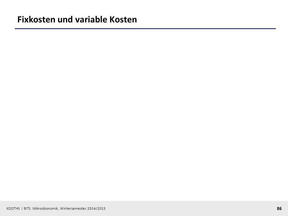 Fixkosten und variable Kosten