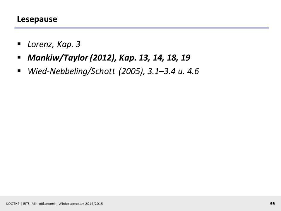 Lesepause Lorenz, Kap. 3. Mankiw/Taylor (2012), Kap.