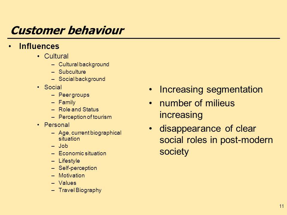 Customer behaviour Increasing segmentation
