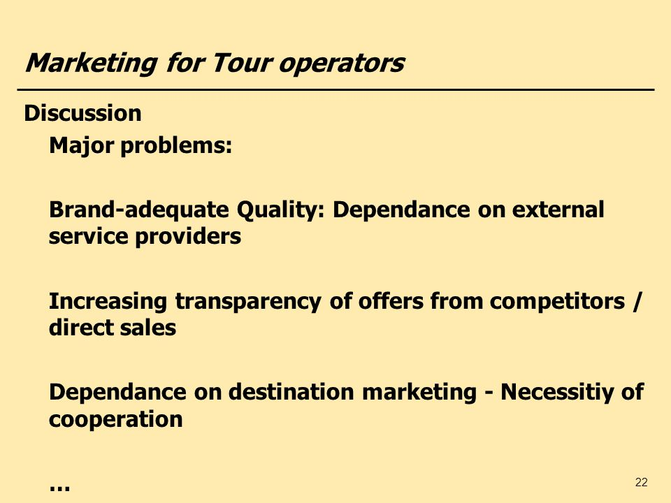 Marketing for Tour operators