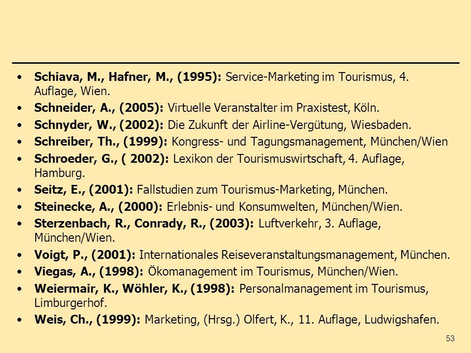 Schiava, M. , Hafner, M. , (1995): Service-Marketing im Tourismus, 4