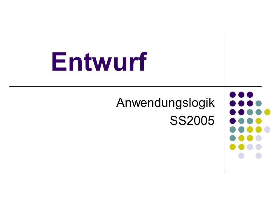 Entwurf Anwendungslogik SS2005