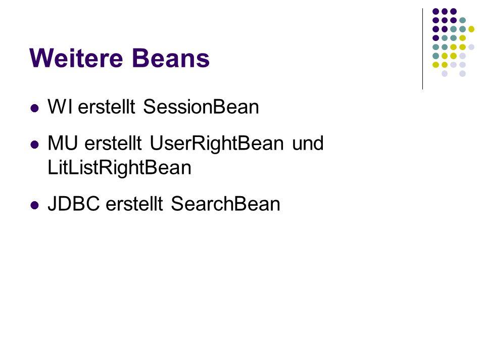 Weitere Beans WI erstellt SessionBean
