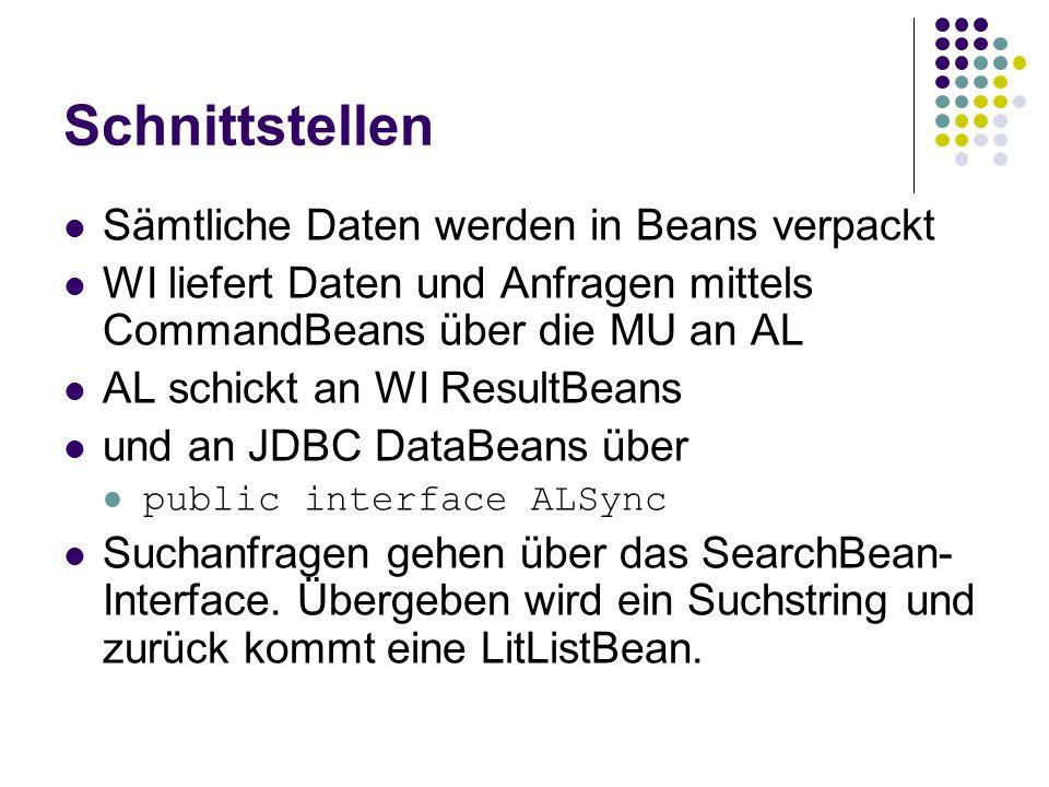 Schnittstellen Sämtliche Daten werden in Beans verpackt