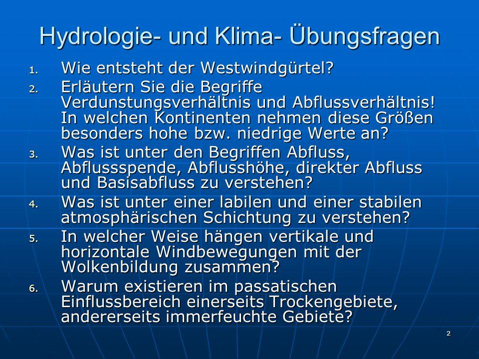 Hydrologie- und Klima- Übungsfragen