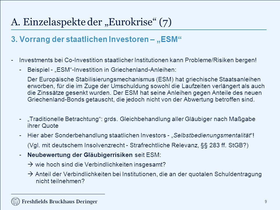 """A. Einzelaspekte der """"Eurokrise (8)"""