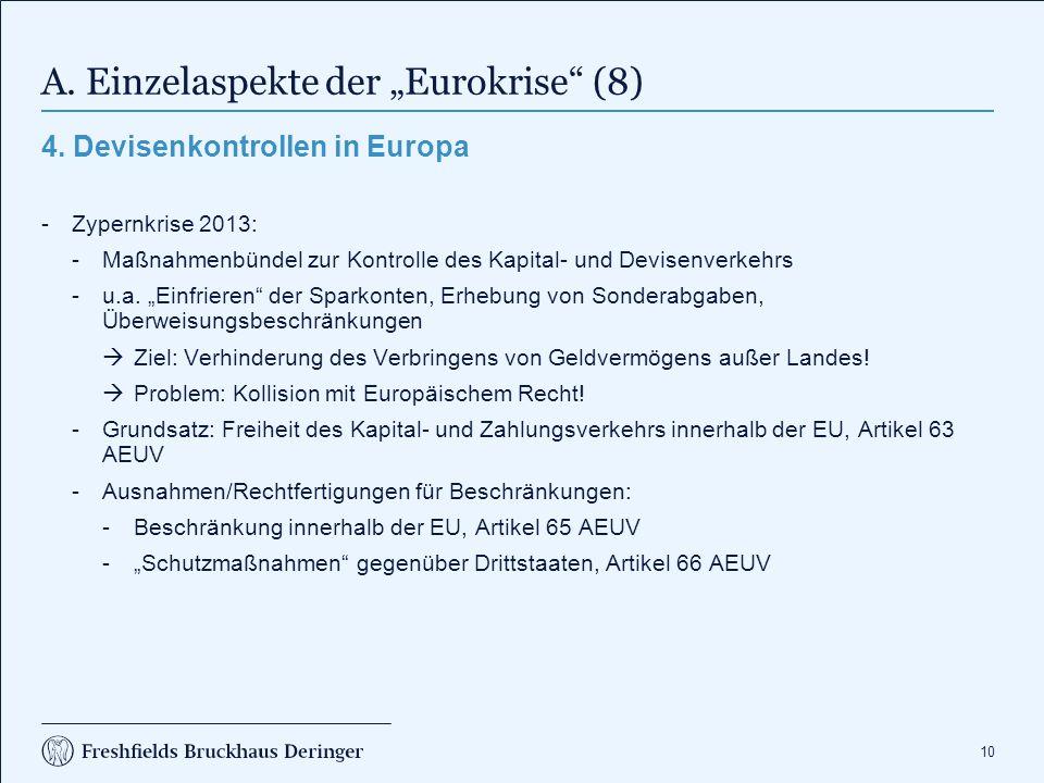 """A. Einzelaspekte der """"Eurokrise (9)"""