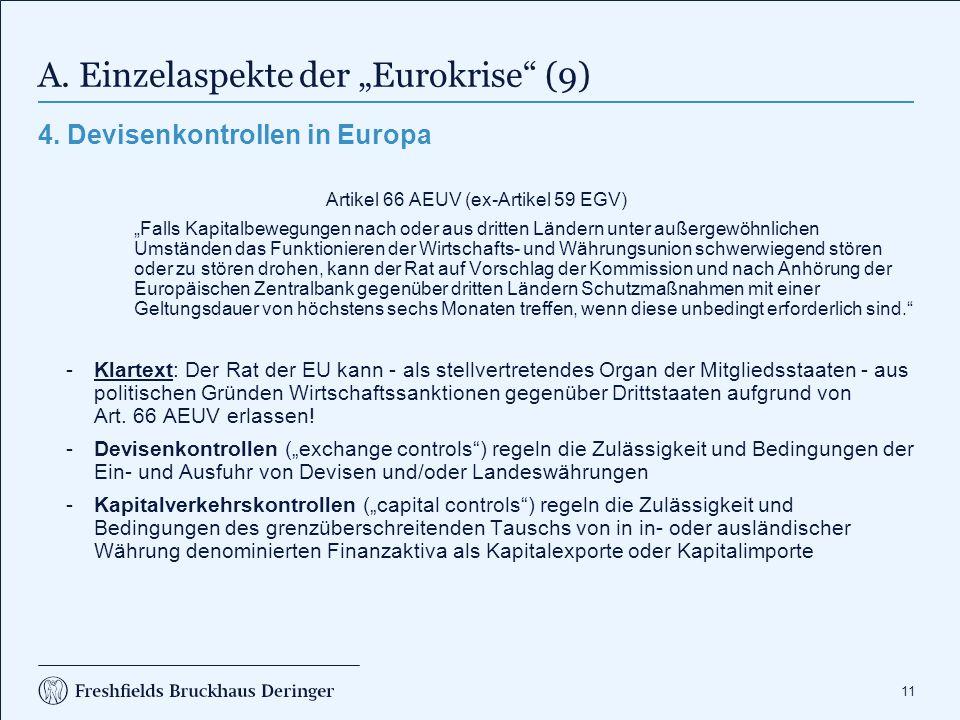 """A. Einzelaspekte der """"Eurokrise (10)"""