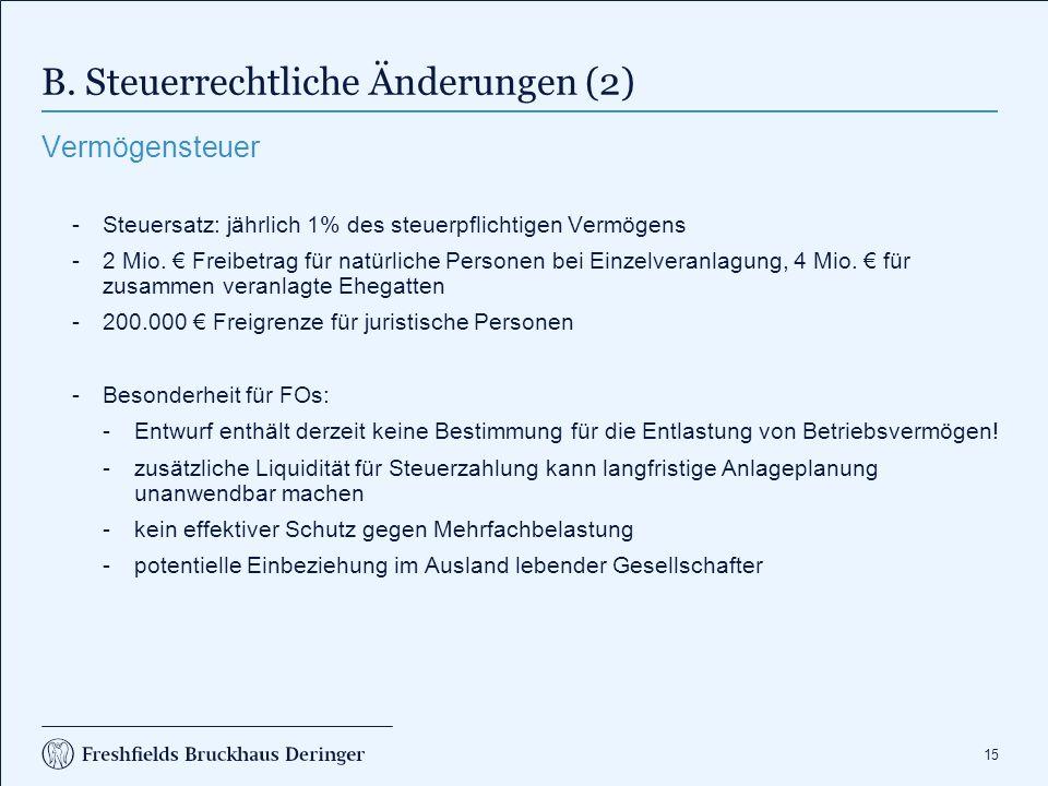 B. Steuerrechtliche Änderungen (3)