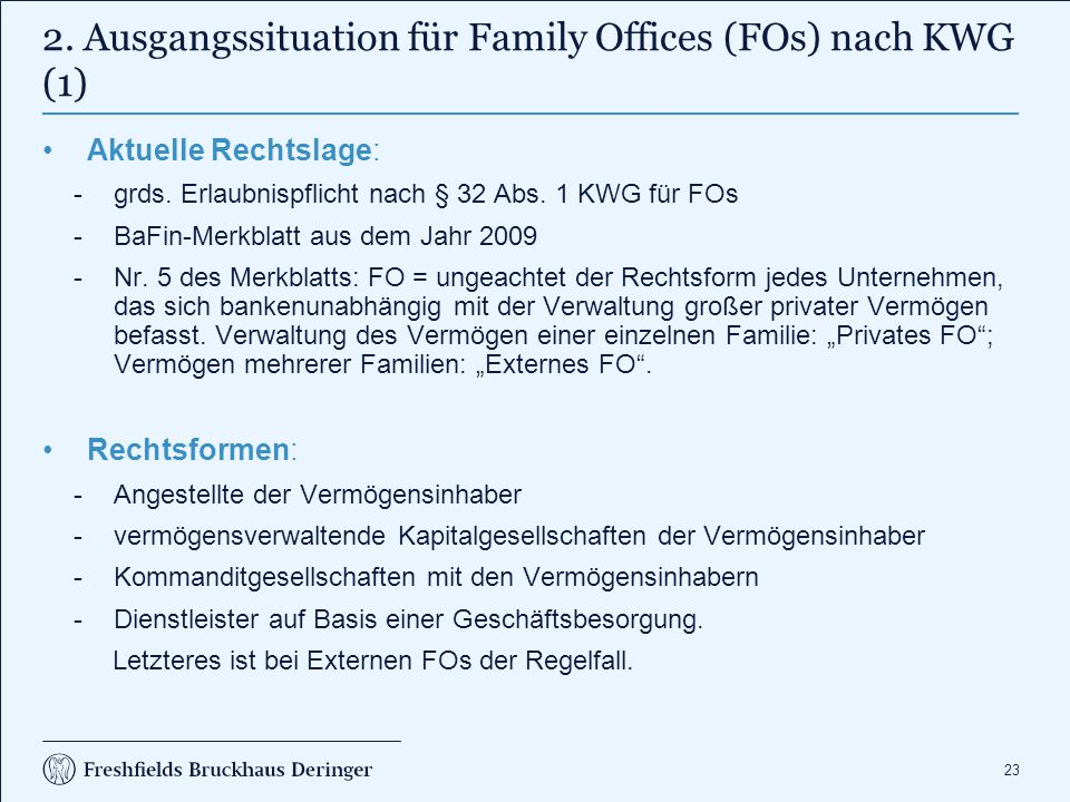 2. Ausgangssituation für Family Offices (FOs) nach KWG (2)