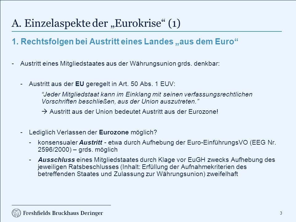 """A. Einzelaspekte der """"Eurokrise (2)"""